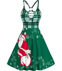 christmas o ring santa claus print plunge dress