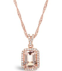 morganite (2 ct. t.w.) and diamond (1/6 ct. t.w.) pendant necklace in 14k rose gold-plated sterling silver