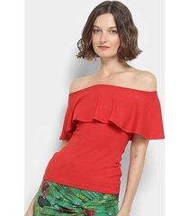 blusa colcci ombro a ombro canelada feminina