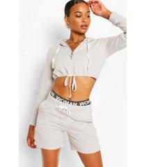 korte hoodie met halve rits en shortset, grijs gemêleerd