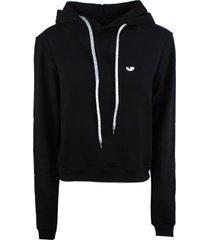 chiara ferragni black cotton hoodie
