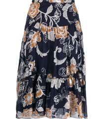 see by chloé metallic floral print skirt - blue