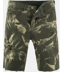 cachemire verde casual lavato casual ampio jeans per uomo