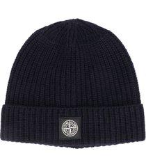 stone island ribbed wool beanie hat - blue