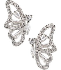 animal trend rhodium-plated & crystal butterfly earrings