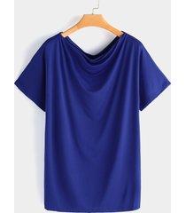 camiseta azul de gran tamaño one con hombros descubiertos y media manga
