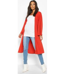 maternity belted duster jacket, rust