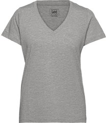 v neck tee t-shirts & tops short-sleeved grå lee jeans