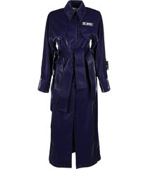 off-white navy blue trench coat