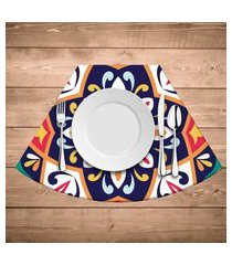 jogo americano para mesa redonda wevans mandala colorida kit com 6 pçs