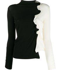 pinko funnel neck ruffled trim sweater - black