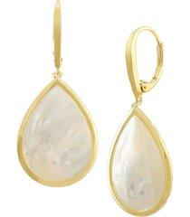 jan-kou women's 14k goldplated & genuine mother of pearl teardrop earrings