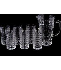 conjunto de jarra e 6 copos de cristal lodz - transparente