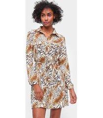 vestido adooro! chemise estampado amarração manga longa - feminino
