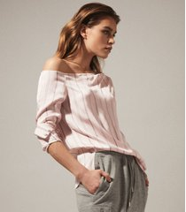 reiss maeve - one shoulder stripe top in neutral, womens, size 14