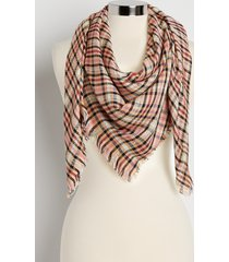 maurices womens pink plaid sequin square scarf