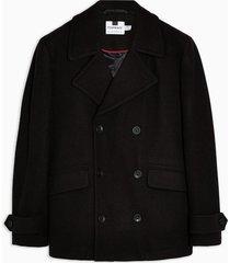 mens black faux fur pea coat