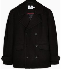 mens black faux fur pea coat