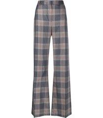 essentiel antwerp checked wide leg trousers - blue