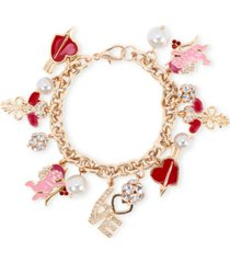 holiday lane gold-tone crystal & imitation pearl love charm bracelet, created for macy's