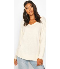 tall sweater with v neck detail front and back, ivory