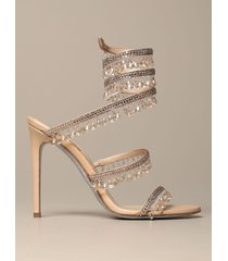 rene caovilla heeled sandals rené caovilla chandelier sandal in satin with crystals and pendants