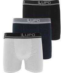 kit 3pçs cueca lupo boxer lettering branco/preto/azul-marinho