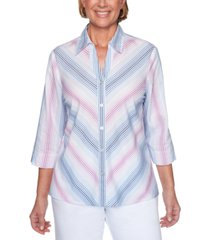 alfred dunner petite petal pushers printed button-front top