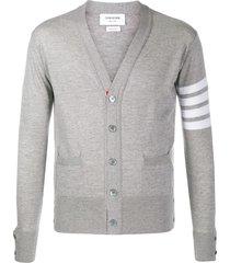 thom browne merino wool v-neck cardigan - grey