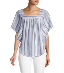 beach lunch lounge women's striped kimono-sleeve top - cape cod - size s
