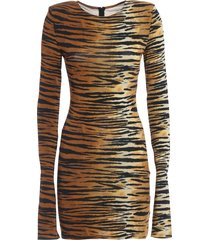 alexandre vauthier animal print viscose blend dress