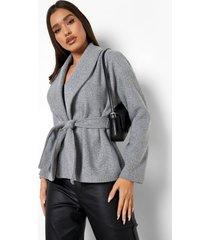 nepwollen wikkel jas met ceintuur, grey