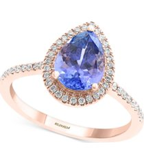 effy tanzanite (1-1/2 ct. t.w.) & diamond (1/4 ct. t.w.) statement ring in 14k rose gold