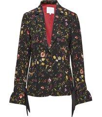 suit jacket in botanical print w. t blazer kavaj svart coster copenhagen