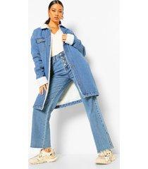 longline spijkerjas met nepwollen voering, mid blue