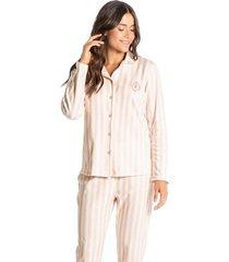 pijama abotoado longo listrado sandra