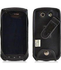 turtleback kyocera brigadier executive black leather case phone case with ratche