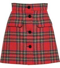 miu miu plaid shetland skirt - red