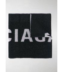 balenciaga logo intarsia fringed scarf