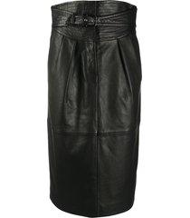 alberta ferretti high-waist belted leather skirt - black