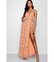 plunge wrap sequin maxi bridesmaid dress, apricot