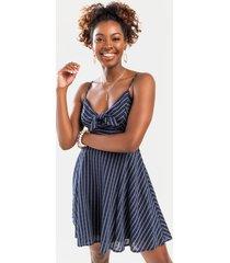 women's aliza striped mini dress in navy by francesca's - size: m