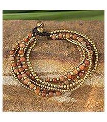 beaded brass bracelet, 'sunrise joy' (thailand)