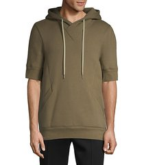 short-sleeve cotton blend hoodie