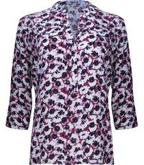 blusa estampada floral color vino, talla xs