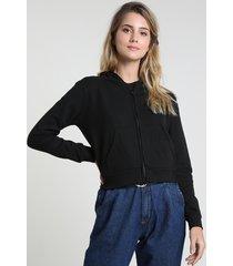 blusão feminino básico em moletom felpado com capuz preto
