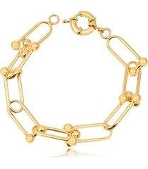 pulseira com maxi elos bolinhas folheado francisca joias