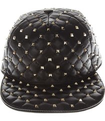 valentino garavani black studs leather hat