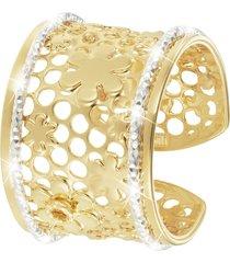anello fiori in bronzo bicolore per donna