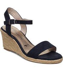 woms sandals sandalette med klack espadrilles blå tamaris